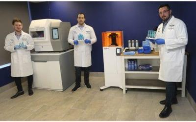 Denture Center's 3D printing equipment makes N95 mask and ventilator valve prototypes