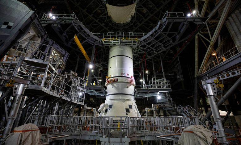 SLS rocket begins to take form, targets Moon